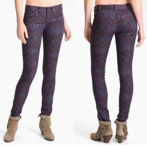 FREE PEOPLE Aztec Tribal Print Skinny Jeans 27